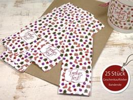 25 Stück große Geschenkaufkleber Banderole Frohes Fest 5 x 15 cm für Weihnachten Advent für DIY Geschenktüten -