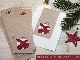 25 Stück große Geschenkaufkleber Banderole mit Elch für Weihnachten Advent 5 x 15 cm für DIY Geschenktüten Weihnachtsverpackung retro Design natürlich verpacken Kraftpapieroptik -