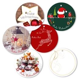 """25er Pack Geschenkanhänger """"Frohe Weihnachten"""" rund ca. Ø 95 mm verschiedene Motive, Anhänger, Weihnachtsanhänger, Geschenkkarte, Geschenkkärtchen, Anhängeetikett, Topper -"""