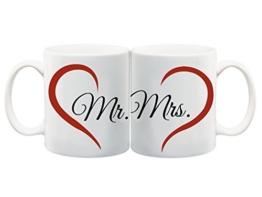 2er Set Bedruckte Tasse mit Motiv Mr. und Mrs. Motivtasse Kaffeebecher Kaffeetasse -
