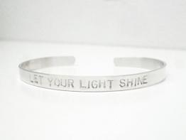 925 Sterling Silber Armreif LET YOUR LIGHT SHINE 5mm breit handgestempelt -