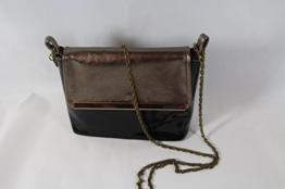 Abend Handtasche Lack PU-Leder kombiniert mit Echtleder in Bronze Metallic -