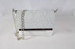 Abend Handtasche Weiss kombiniert mit Echtleder in Grau Schlangenprägung -