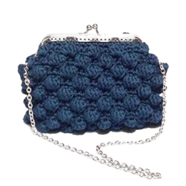 AGATA - Handmade in Italy - Handtasche elegant. Blau. Evening blue clutch purse with silvery vintage kiss clasp. -