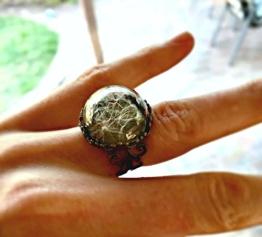 Antike Bronze Löwenzahn Samen Ring - Weinlese Blumen Schmucksachen Rustikaler einstellbarer kundenspezifischer Ringe -