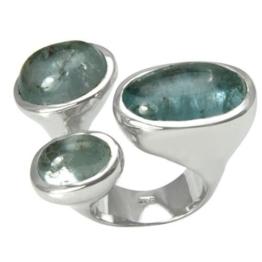 Aquamarin Cabochon Ring (Sterlingsilber 925) Aquamarinring 35 ct. -