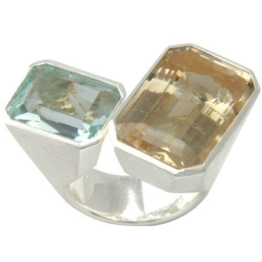 Aquamarin und goldener Beryll Ring (Sterlingsilber 925) Silberring mit Aquamarin und Goldberyll -