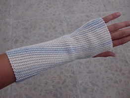 Armstulpen, Pulswärmer, fingerlose Handschuhe, gestrickt, Baumwollgarn -