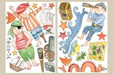 Aufkleber Sticker Wandtattoo - Piratenset mit 70 Einzelaufklebern, handgezeichnet, auf 6 Bögen im Format A4 -