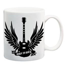 Bedruckte Tasse mit Motiv Born to Rock Motivtasse Kaffeebecher Kaffeetasse -