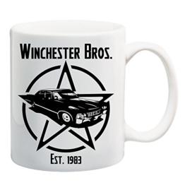 Bedruckte Tasse mit Motiv Supernatural Motivtasse Kaffeebecher Kaffeetasse -