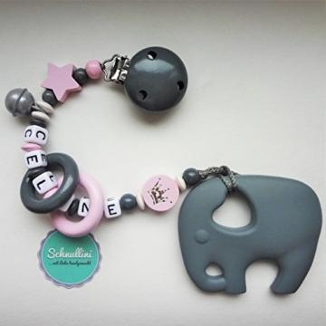 Beißkette Schnullerkette mit Namen Gravur Glocke Silikon Elefant Motorik Geschenk Taufe Geburt individuell Stern | Mädchen rosa Namenskette -