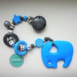 Beißkette Schnullerkette mit Namen Gravur Glocke Silikon Elefant Motorik Geschenk Taufe Geburt individuell Stern | Junge blau Namenskette -