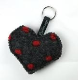 Beletage Schlüsselanhänger Taschenanhänger Herz aus Walk anthrazit rot -