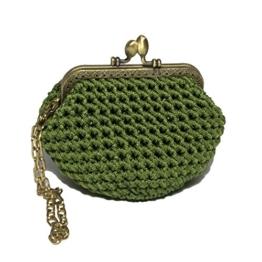 BELLA - Handmade in Italy - Handtasche elegant. Kleine Kupplung. Grün. Evening green clutch purse / coin wallet, golden vintage kiss clasp. -
