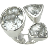 Bergkristall Ring, massiv und schwer (Sterlingsilber 925) 3 Steine Ring -