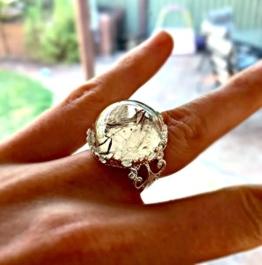 Betäubender silberner Löwenzahn-Samenring - justierbare kundenspezifische Ringblume personifizierte Schmucksachestatement Ringe -