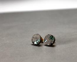 Beton Ohrstecker Kristall Ohrringe 925 Silber grau -