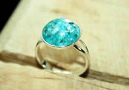Blaue Blumenwiese ♥ Echtblüten Ring silberfarben, größenverstellbar, 12mm, handmade -
