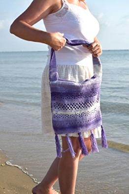 Boho Häkelarbeit Handtaschen Franse Tasche Hippie Geld beutel taschen böhmische blaue weiße Tasche häkeln handgemachte Geschenk für Frauen Valentinstag Geschenk Häkelarbeit Gehäkelt Frauen geschenk -