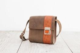 braune Lederhandtasche, süßer Crossbodybag, Umhängetasche aus echtem Leder, Handarbeit aus dem Allgäu -