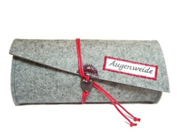 Brillenetui, Täschchen Wollfilz Filz Farbauswahl Leder + Kordel mit Spruchauswahl -