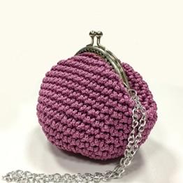 CLARA - Handmade in Italy - Handtasche elegant. Kleine Kupplung. Rosa. Evening pink clutch purse / coin wallet, with vintage kiss clasp. -