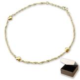 CLEVER SCHMUCK Vergoldetes Fußkettchen Singapur 23 und 25 cm lang mit 3 kleinen bauchigen Herzen glänzend STERLING SILBER 925 vergoldet im Etui -