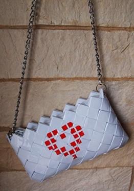 Clutch-Tasche Party Modische Clutch weiß und roter Herz Lack Gesteppt Handtasche -