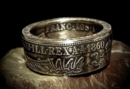 Coinring, Münzring, Ring aus sehr alter Münze (1 Florin/Gulden, Österreich 1860 ), 900er Silber - Double Sided coin ring - Größe 63 (20.1), handgeschmiedetes Unikat -
