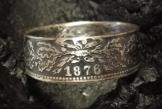 Coinring, Münzring, Ring aus sehr alter Münze (1 Mark Deutsches Kaiser-Reich 1876), 900er Silber - Double Sided coin ring - Größe 57 (18.1), handgeschmiedetes Unikat -