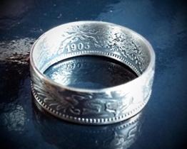 Coinring, Münzring, Ring aus sehr alter Münze (1 Mark Deutsches Kaiser-Reich 1903), 900er Silber - Double Sided coin ring - Größe 58 (18.5), handgeschmiedetes Unikat -