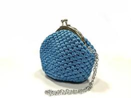 DAFNE - Handmade in Italy - Handtasche elegant. Kleine Kupplung. Turquoise. Evening cyan clutch purse / coin wallet, with vintage kiss clasp. -