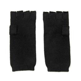 Damen fingerless Kaschmir Handschuhe, 100% Kaschmir gestrickt Handschuhe Damen, High-End Luxus mongolischen Kaschmir (26/2 2 ply Garn) Kaschmir Handschuh schwarz -