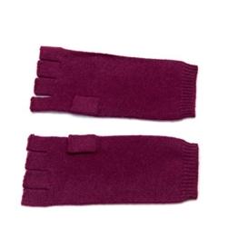 Damen fingerless Kaschmir Handschuhe, 100% Kaschmir gestrickt Handschuhe Damen, High-End Luxus mongolischen Kaschmir (26/2 2 ply Garn) Kaschmir Handschuh Rot -