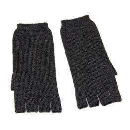 Damen fingerless Kaschmir Handschuhe, 100% Kaschmir gestrickt Handschuhe für Frauen, High-End Luxus mongolischen Kaschmir (26/2 2 ply Garn) Kaschmir Handschuh Holzkohlefarbe -