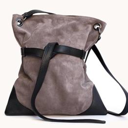 Damenhandtaschen wildleder handgefertigten grau/schwarz -