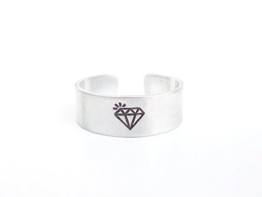 Diamant Aluminiumring handgestempelt 6mm breit, geschwärzt, glänzend -