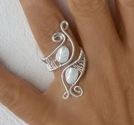 Draht, Gewickelt Ringe, Handgemachter silberner Draht wickelte Schmucksache - Perlmutter Blattes  und Draht Silber -