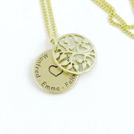 Echt Gold 333 Kette mit Anhänger und Lasergravur - Lebensbaum Namenskette Familienkette -