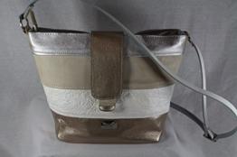 Echtleder Handtasche silber/weiss/beige/gold -