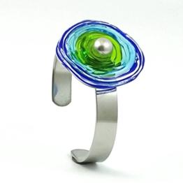 Edelstahl-Armreif mit Scheibe aus Murano-Glas in blau/grün/türkis, Glas-Schmuck, Wechsel-Schmuck, Unikat -