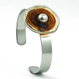 Edelstahl-Armreif mit Scheibe aus Murano-Glas in Braun-Tönen, Glas-Schmuck, Wechsel-Schmuck, Unikat -