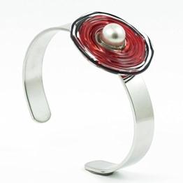 Edelstahl-Armreif mit Scheibe aus Murano-Glas in rot/schwarz, Glas-Schmuck, Wechsel-Schmuck, Unikat -