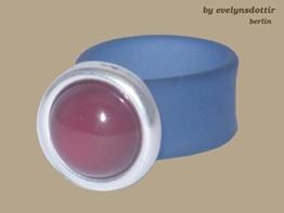 Farbenfroher petrol-farbener Ring mit echt silberner Fassung und Karneol-Stein -