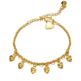 Fashmond Geschenke Golden liebe Herzen Fußkettchen Fußkette für Damen Frauen Mädchen Herren Männer Kinder Freundin Freund aus Rotgold -