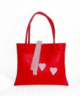 FILZTasche / Shopper rot mit Herzchen -