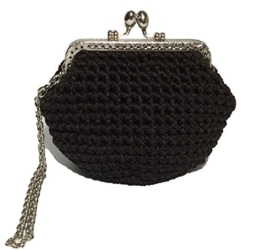 FIONA - Handmade in Italy - Handtasche elegant. Kleine Kupplung. Schwarz. Evening black clutch purse / coin wallet, with vintage kiss clasp. -