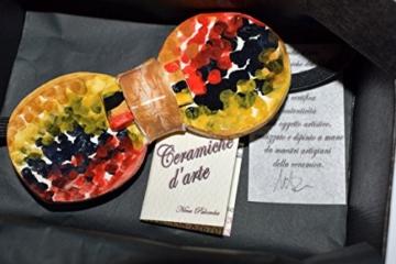 Fliege Keramik Action Painting Linie Piece Unique Hergestellt und von Hand bemalt Le Ceramiche del Castello Made in Italy Maße: 10 x 5 cm. -