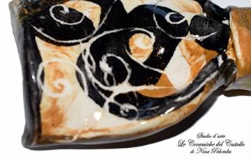 Fliege Keramik Antiquae Gold Linie Piece Unique Hergestellt und von Hand bemalt Le Ceramiche del Castello Made in Italy Maße: 11 x 4.5 cm. -